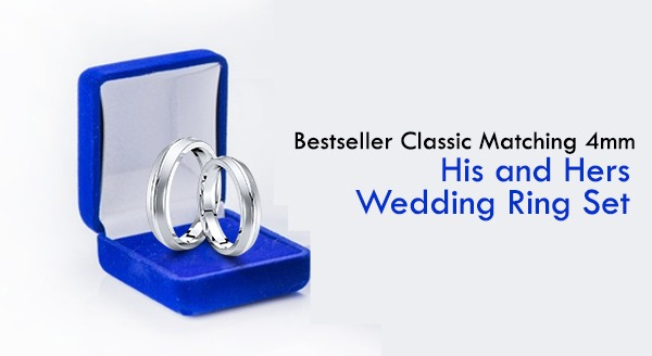 Bestseller Classic Matching 4mm His and Hers Wedding Ring Set