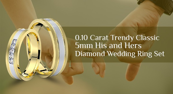 0.10 Carat Trendy Classic 5mm His and Hers Diamond Wedding Ring Set