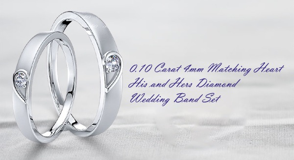 0.10 Carat 4mm Matching Heart His and Hers Diamond Wedding Band Set