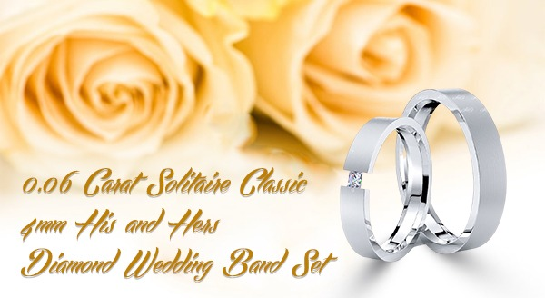 0.06 Carat Solitaire Classic 4mm His and Hers Diamond Wedding Band Set
