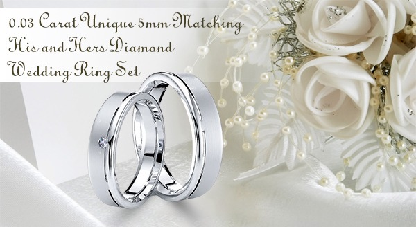 0.03 Carat Unique 5mm Matching His and Hers Diamond Wedding Ring Set