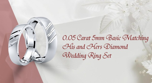 0.05 Carat 5mm Basic Matching His and Hers Diamond Wedding Ring Set