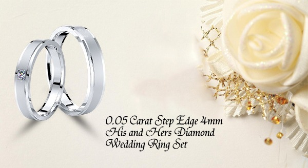 0.05 Carat Step Edge 4mm His and Hers Diamond Wedding Ring Set