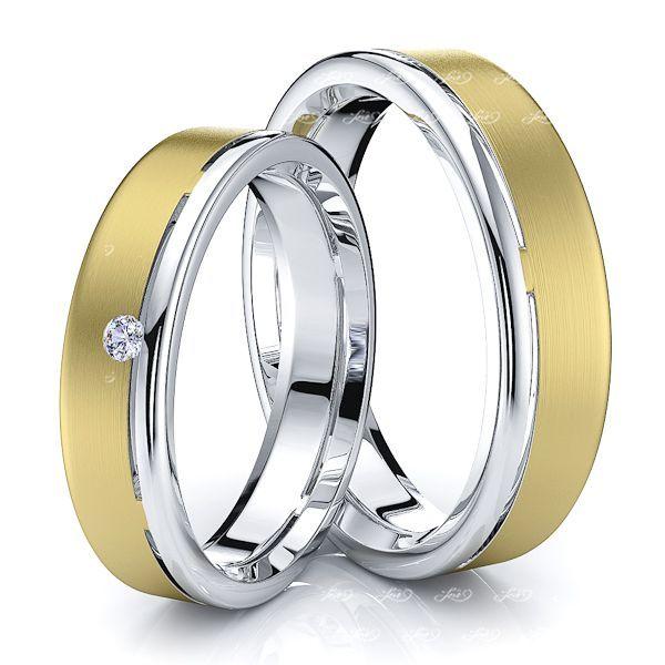 White and Yellow Matching His and Hers Diamond Wedding Ring Set