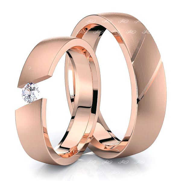 Rose Gold Fancy His and Hers Diamond Wedding Ring Set