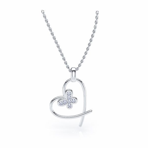 Dione Heart and Butterfly Diamond Pendant For her