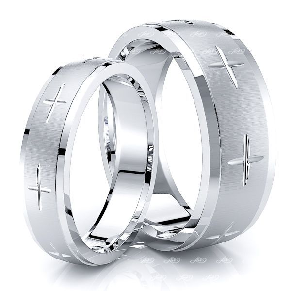 Exquisite Cross Matching 7mm His and 5mm Hers Wedding Band Set